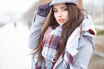 Urban modern woman outdoor walking in street. Female fashion mod
