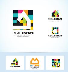 Real estate tiles house logo
