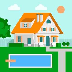 Vector Illustration Family House Cartoon, Flat Design.