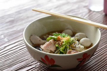 Hot pork noodles, Asian dish