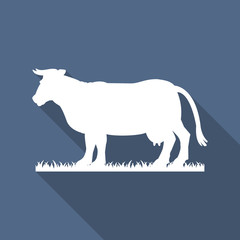 White silhouette of cow isolated on grey background. Simple flat vector illustration, EPS 10.