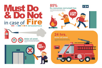 Vector Illustration Instruction for People's Safety in Fire or Emergency in Workplace.