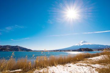 Mt Fuji from Kawaguchiko lake in Winter