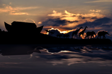 Noah's ark and animals, sunset in background