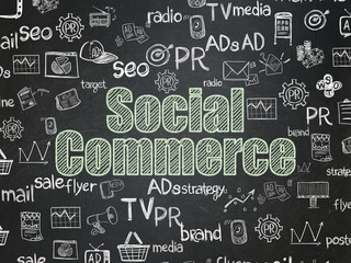 Advertising concept: Social Commerce on School Board background