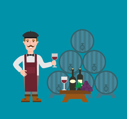 winemaker with wine glass wooden wine barrels wine bottles grapes bunch wine cellar