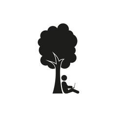 silhouette of man under a tree vector stick figure