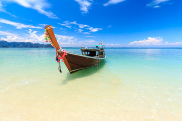 a boat on tropical beach, poda island, Krabi, Thailand
