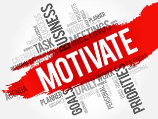 Motivate word cloud, business concept