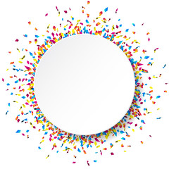 White round paper banner with colorful confetti. Vector illustration.
