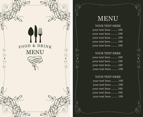 menu for the restaurant in retro style with cutlery