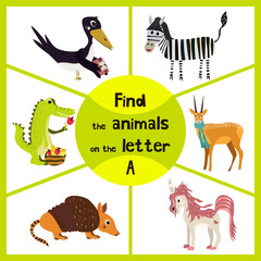 Funny learning maze game, find all 3 cute animals with the letter A, alligator, antelope, Armadillo. Vector