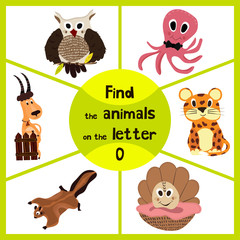 Funny learning maze game, find all 3 of cute wild animals to the letter O, sea dweller octopus, woodsy owl and sea shell. Educational page for children. Vector