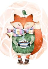 Fototapeta premium Śliczny mały lis właśnie lubi pić gorącą kawę.