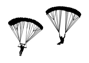 Skydivers. collection of vector illustrations