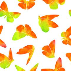 Orange Watercolor Butterfly Pattern