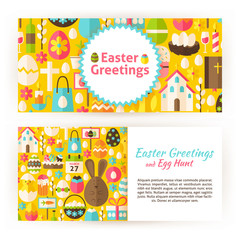 Easter Greetings Flat Style Vector Templates Set