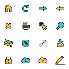 Trendy flat line icon pack for designers and developers. Vector line web set, web icon object, web icon picture, web icon image - stock vector