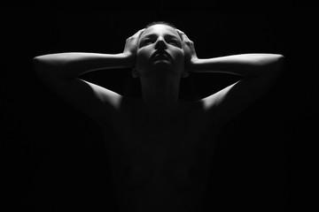 woman body dark female silhouette.monochrome nude beauty girl