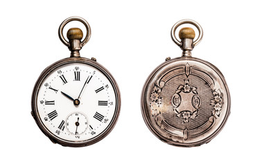 Antique Pocket Watch Isolated on White (Clipping path) Wall mural