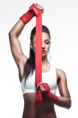 beautiful sexy fighter girl on white background;