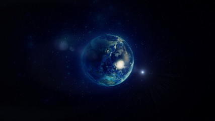 Earth in Space with Light Flare