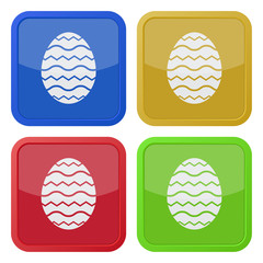 set of four square icons - simple Easter egg