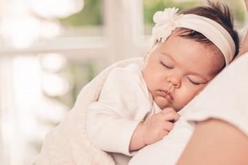 Close-up portrait beautiful sleeping baby