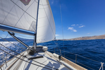"""""""Wing and wing"""" sailing on the yacht during the regatta near gre"""