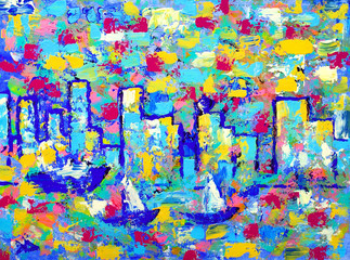 Abstract painting with towers of Vancouver.