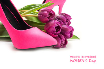 International Women's Day 8 March with ladies pink high heel sho