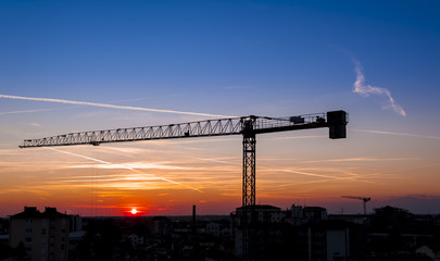 Cranes at work at sunset