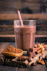 Chocolate milk in the glass