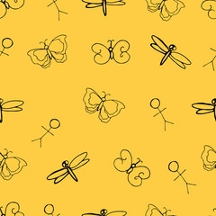 Funny seamless pattern with doodle