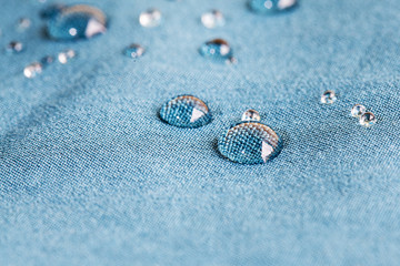 Waterprof fabric /  Detail of a water drop on fabric