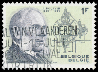Stamp printed By Belgium shows portrait of Jules Boulvin