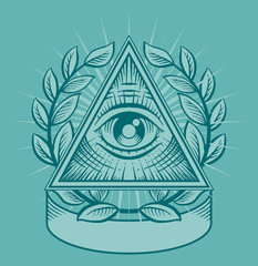 All seeing eye. Vector illustration