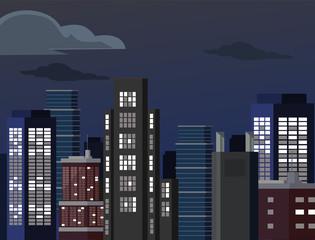 Night cityscape. Vector flat illustration