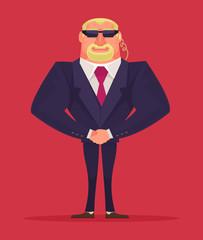 Face control. Security man. Vector cartoon illustration