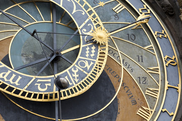Detail of the historical medieval astronomical Clock in Prague on Old Town Hall , Czech Republic