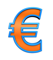 Euro sign from orange glass with blue frame alphabet set, isolated on white. Computer generated 3D photo rendering.