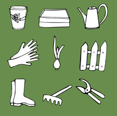 set of doodles on gardening theme