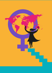 International Women's Day image or rights about women concept.  A silhouette of a woman putting a map on the Venus gender symbol.  