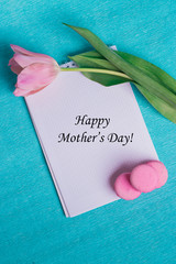 Tag happy mother's day and pink tulip