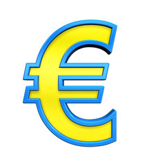 Euro sign from yellow glass with blue frame alphabet set, isolated on white. Computer generated 3D photo rendering.