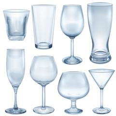 Transparent empty glasses and stemware