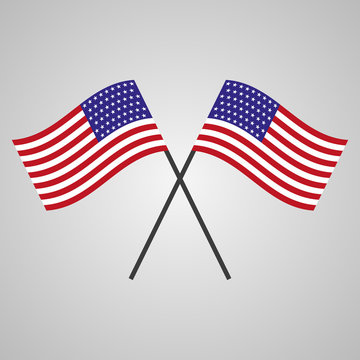 Two flags of USA on a gray background