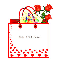 Gift bag with flowers and card.