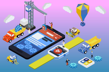 Flat 3d isometric mobile and smart watch design web concept