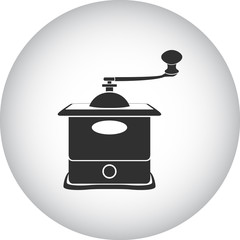 Old coffee grinder mill simple icon on round background